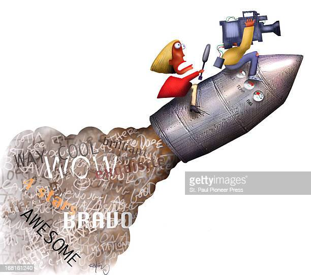 Kirk Lyttle color illustration of TV journalist and her cameraman riding a rocket whose exhaust says 'Wow Bravo Awesome etc' Can be used with stories...