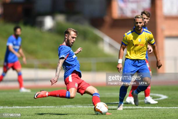 Kirk Millar of Linfield FC in action during the UEFA Champions League 2020/21 Preliminary Round Semi-final match between S.S. Tre Fiori F.C. And...