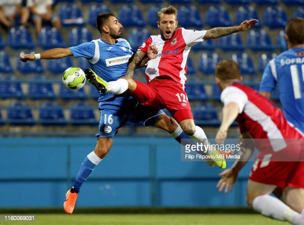 Kirk Millar of Linfield kicks the ball during the UEFA Europa League third round qualifier match between Sutjeska Niksic and Linfield FC on August 6,...