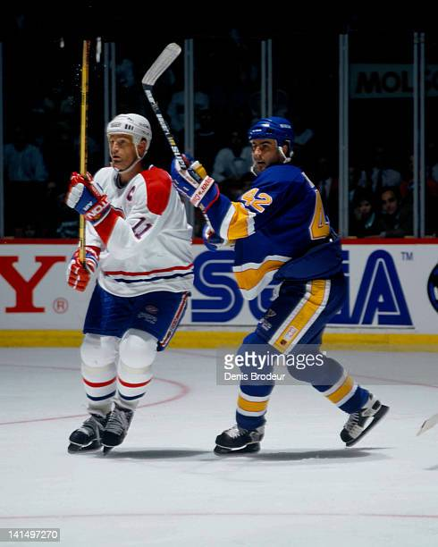 Kirk Muller of the Montreal Canadiens skates against the St Louis Blues Circa 1990 at the Montreal Forum in Montreal Quebec Canada