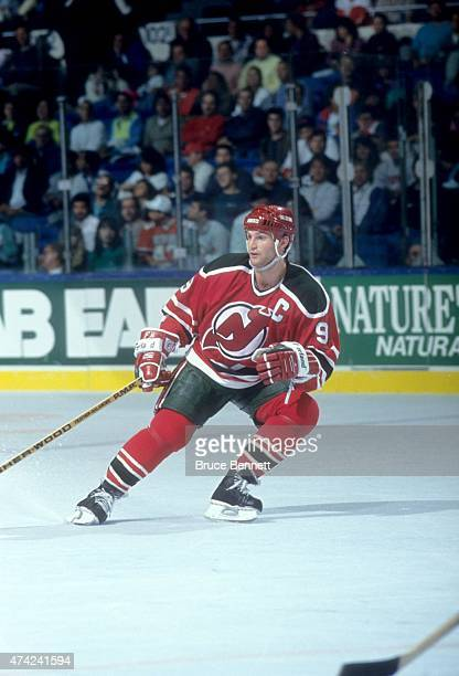 Kirk Muller of the New Jersey Devils skates on the ice during an NHL game against the New York Islanders on October 23 1990 at the Nassau Coliseum in...