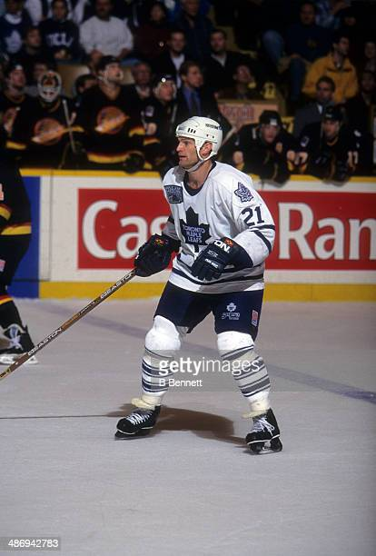 Kirk Muller of the Toronto Maple Leafs skates on the ice during an NHL game against the Vancouver Canucks on November 26 1996 at the Maple Leaf...
