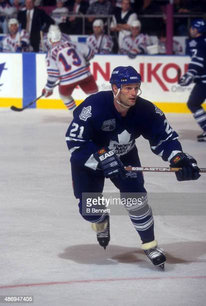 Kirk Muller of the Toronto Maple Leafs skates on the ice during an NHL game against the New York Rangers on December 6 1996 at the Madison Square...