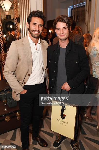 Kirk Newmann and Jack Brett Anderson attend the Aspinal of London presentation during London Fashion Week September 2017 on September 18 2017 in...