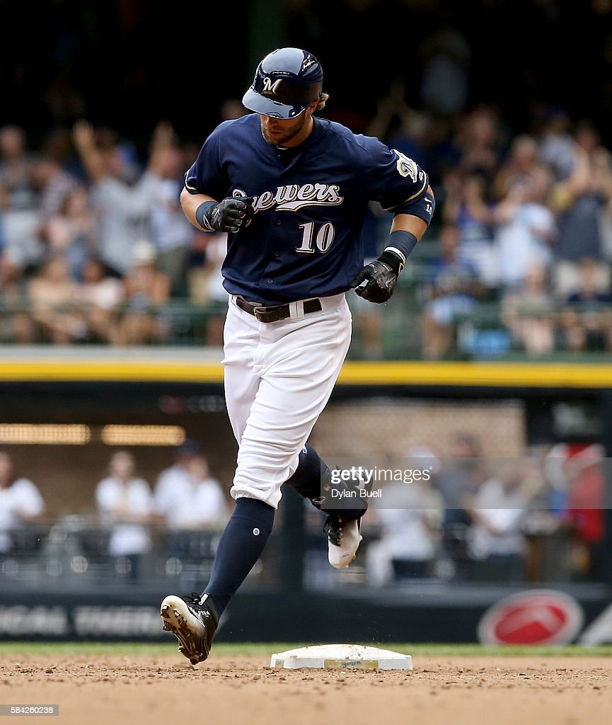 Kirk Nieuwenhuis #10 of the Milwaukee Brewers rounds the bases after hitting a home run in the eighth inning against the Arizona Diamondbacks at Miller Park on July 28, 2016 in Milwaukee, Wisconsin.