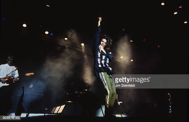 Kirk Pengilly and Michael Hutchence of INXS perform at the Met Center in Bloomington Minnesota on June 16 1988