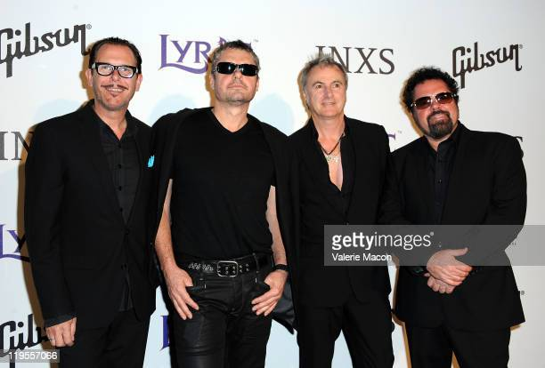 Kirk Pengilly Jon Farriss Garry William Beers and Andrew Farriss attend Lyric Culture Presents Its 'Electro Sexual' Collection on July 21 2011 in...