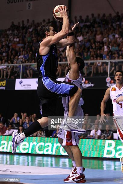 Kirk Penney of the Breakers lays up the ball during the round 17 NBL match between the New Zealand Breakers and Wollongong Hawks at North Shore...