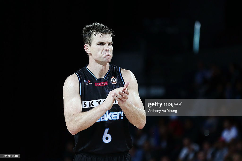 Kirk Penney of the Breakers reacts during the round 11 NBL match between New Zealand Breakers and Perth Wildcats at Vector Arena on December 15, 2016 in Auckland, New Zealand.