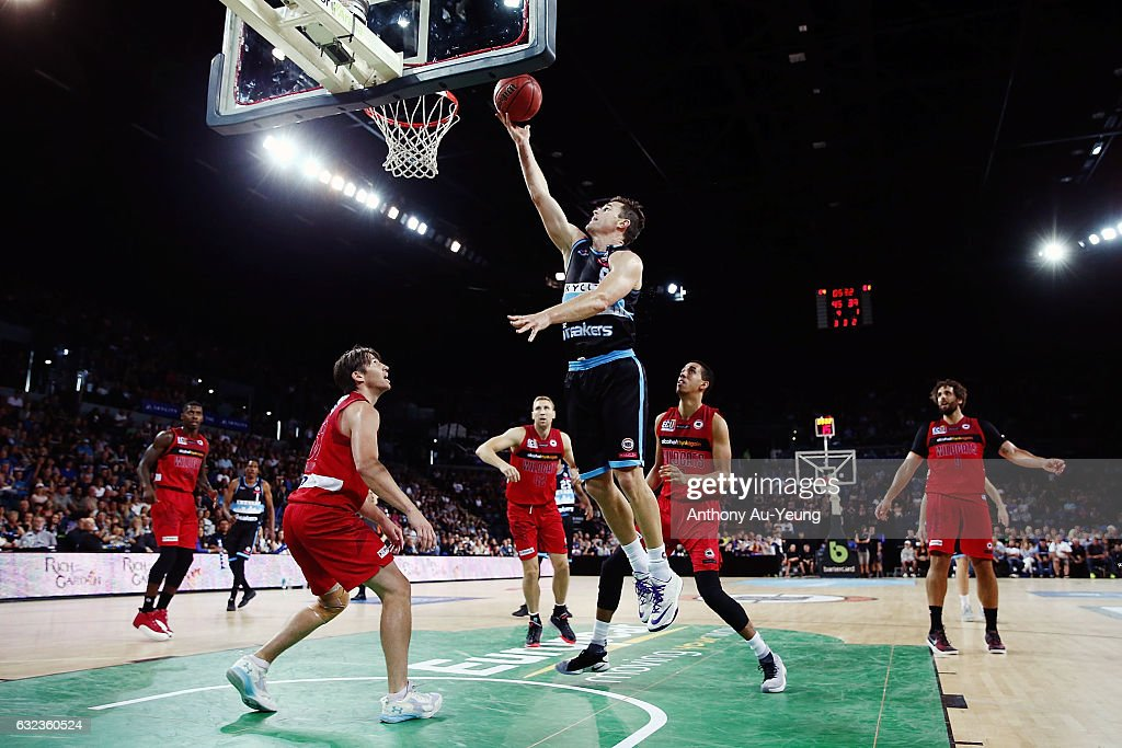 Kirk Penney of the Breakers with a layup during the round 16 NBL match between the New Zealand Breakers and the Perth Wildcats at Vector Arena on January 22, 2017 in Auckland, New Zealand.
