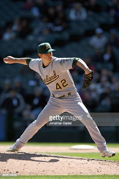 Kirk Saarloos of the Oakland Athletics wearing a jersey in honor of Jackie Robinson delivers a pitch against the Chicago White Sox on April 15 2008...