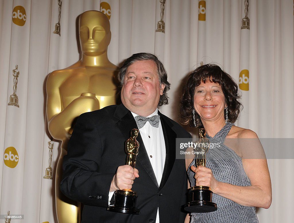 Kirk Simon (L) and Karen Goodman pose in the press room during the 83rd Annual Academy Awards held at the Kodak Theatre on February 27, 2011 in Hollywood, California.