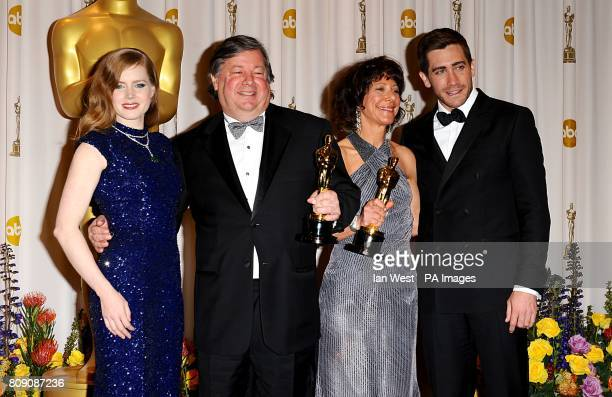 ** Kirk Simon and Karen Goodman with the Best Documentary Short award received for Strangers No More with Amy Adams and Jake Gyllenhaal at the 83rd...