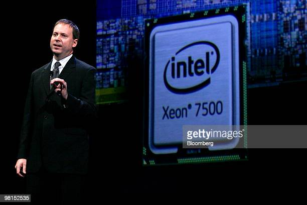 Kirk Skaugen vice president of the architecture group at Intel Corp announces the release of the Intel Xeon 7500 processor series at an event in San...