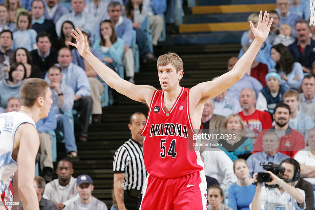 Kirk Walters #54 of the Arizona Wildcats defends against the University of North Carolina Tar Heels on January 28, 2006 at the Dean Smith Center in Chapel Hill, North Carolina. The Tar Heels won 86-69.