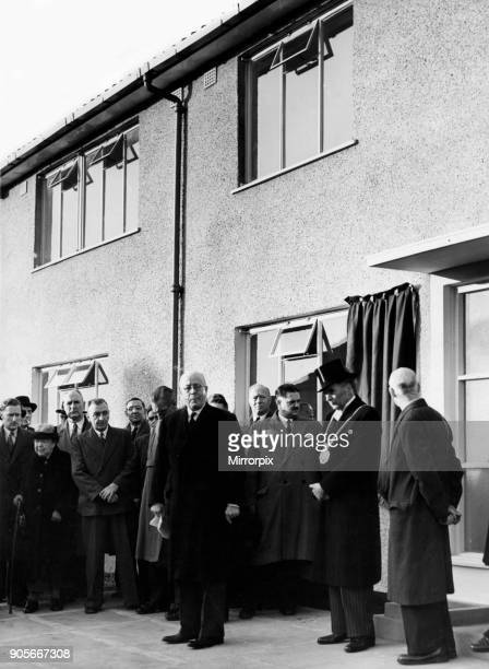 Kirkby a town in the Metropolitan Borough of Knowsley Merseyside England Our picture shows Alderman Sir Alfred Shennan opening the 1000th house on...