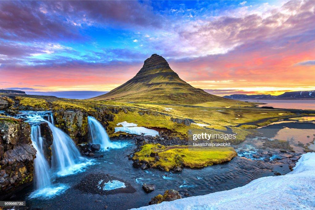 Kirkjufell at sunrise in Iceland. Beautiful landscape. : Stock Photo