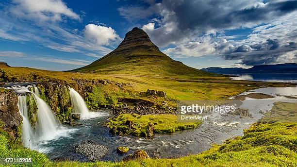 kirkjufell in iceland - westfjords iceland stock photos and pictures