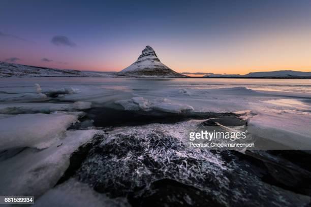 Kirkjufell in winter , Iceland