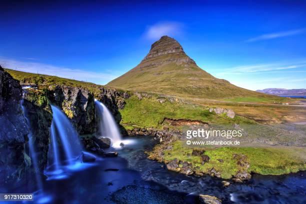 Kirkjufell Mountain and Kirkjufellsfoss in Iceland.