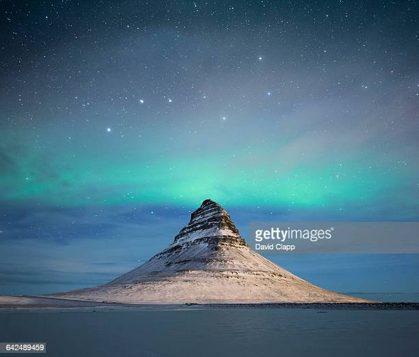 Kirkjufell mountain in the winter in Iceland