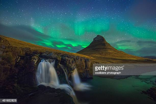 Kirkjufell night landscape with northern light