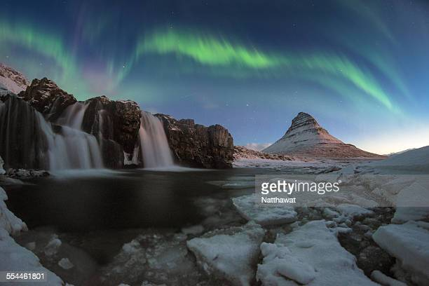 Kirkjufell night with northern light