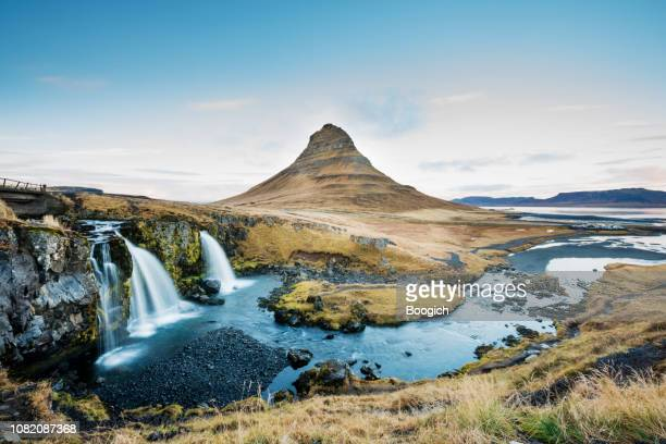 kirkjufellfoss waterfall and mountain landscape iceland - reykjavik stock pictures, royalty-free photos & images