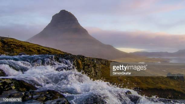 kirkjufellmountain andkirkjufellsfoss,sneafellsness,iceland - peninsula stock pictures, royalty-free photos & images