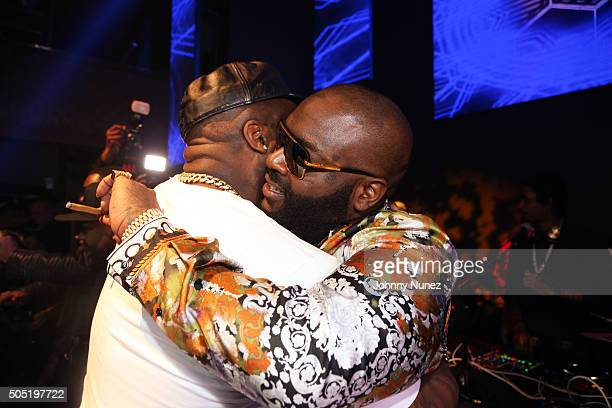 TK Kirkland and Rick Ross attend The All Black Experience hosted by Rick Ross at Stage 48 on January 15 2016 in New York City