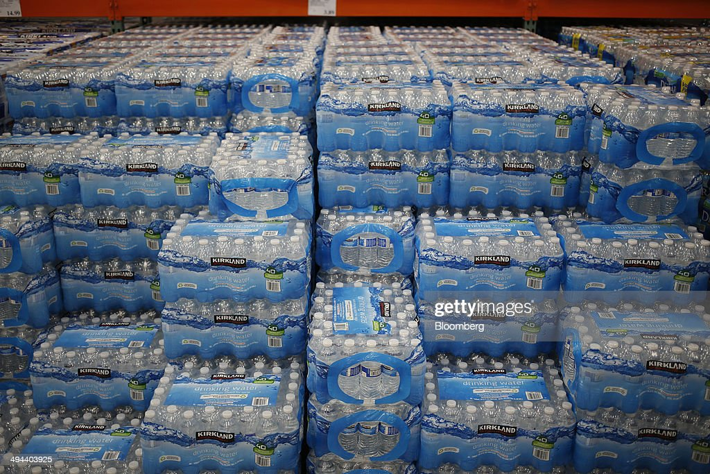 Kirkland brand bottled water is displayed for sale at a
