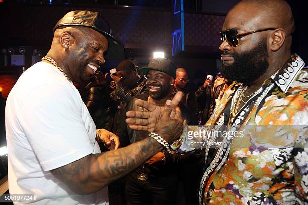 TK Kirkland CourtneyLowery and Rick Ross attend The All Black Experience hosted by Rick Ross at Stage 48 on January 15 2016 in New York City