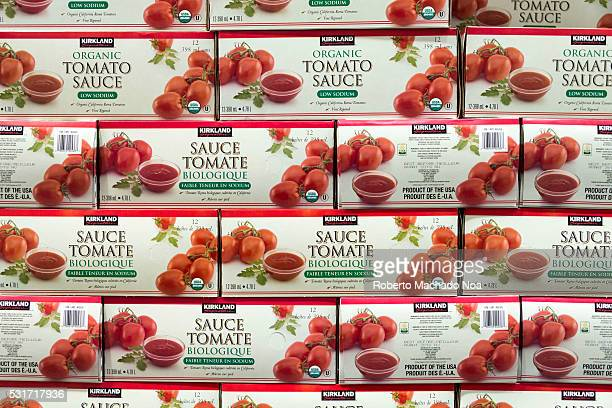 Kirkland Tomato sauce boxes stacked in shelf high quality sauce for making spaghetti and pizza sauce