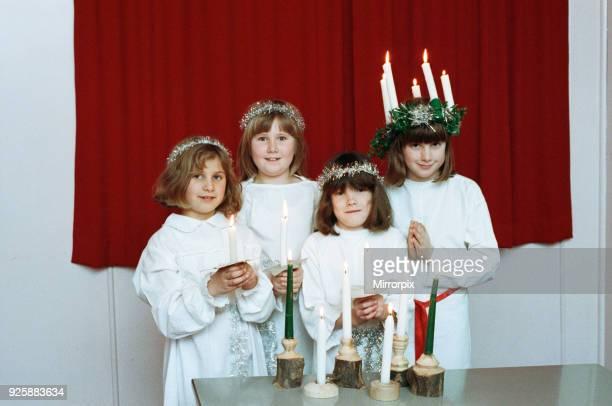 Kirklees Anglo Scandinavian Society celebrating Luciafest at Stocksmoor Village Hall 16th December 1991