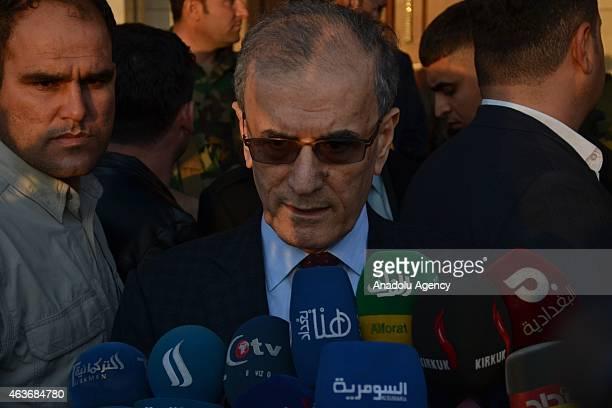Kirkuk Governor Necmeddin Kerim speaks to the media after meeting with head of the Kurdish Regional Government of Iraq, Masoud Barzani at Kirkuk...