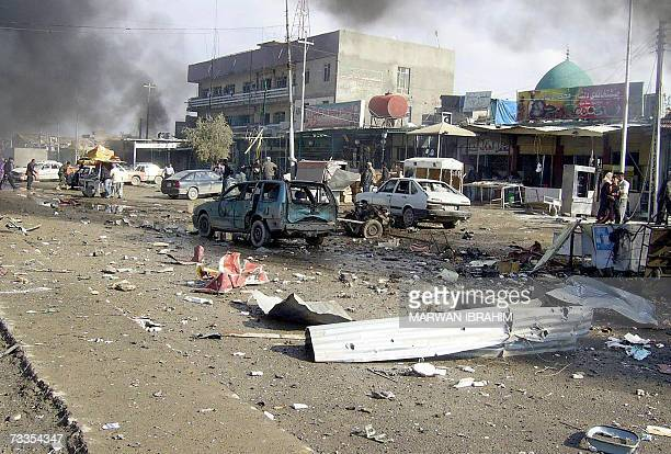 A general view shows the site where two car bombs exploded in quick succession at a garage in the oil rich city of Kirkuk north of Baghdad 17...