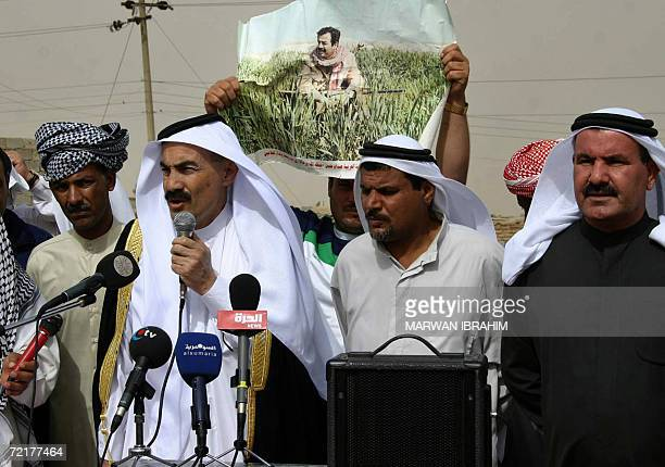 An Iraqi tribe leader speaks during a press conference after the meeting of the Arab tribes leaders in the oil rich city of Kirkuk late 15 October...