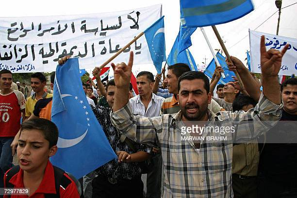 Iraqi Turkmen demonstrate in the oil rich city of Kirkuk to protest against federalism and to insist on the Iraqi Identity of the ethnically mixed...