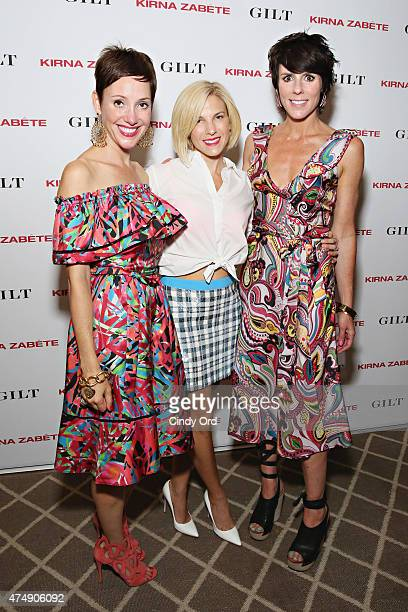 Kirna Zabete designers Beth Buccini and Sarah Easley pose for a photo with Jessica Seinfeld as Gilt celebrates the Kirna Zabete Collection launching...
