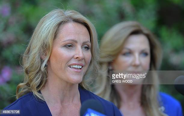 Kirralie Smith endorsed senate candidate for New South Wales for the newly launched Australian Liberty Alliance Party speaks during a press...