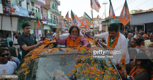 Kirron Kher during a road show at Mauli Jagran on April 28 2019 in Chandigarh India Speaking to the media Kher launched into a criticism of the...