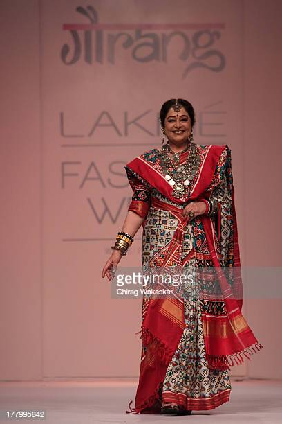 Kirron Kher showcases designs by Gaurang Shah during day 4 of Lakme Fashion Week Winter/Festive 2013 at the Hotel Grand Hyatt on August 26, 2013 in...
