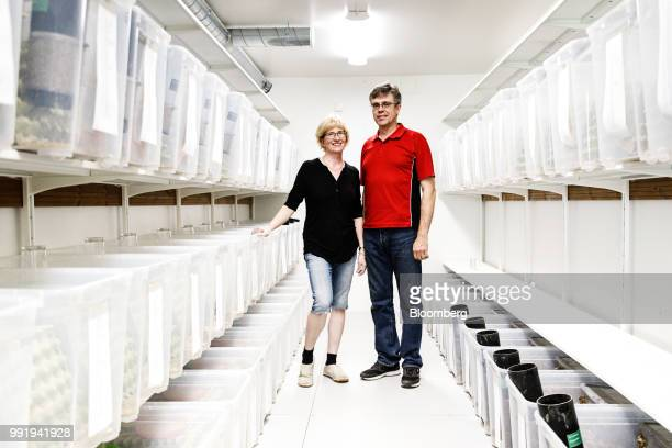 Kirsi Siikonen farmer left and Jouko Siikonen farmer right pose for a photograph in a cricket growth room on the Siikonen family farm in Forssa...