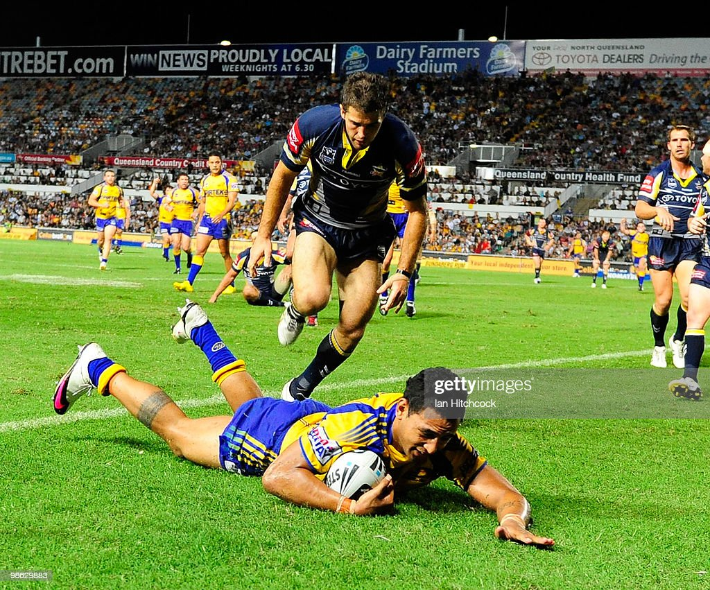 Kirsnan Inu of the Eels scores the match winning try during the round seven NRL match between the North Queensland Cowboys and the Parramatta Eels at Dairy Farmers Stadium on April 23, 2010 in Townsville, Australia.