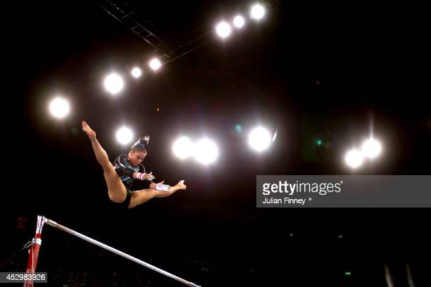 Kirsten Beckett of South Africa competes in the Women's Uneven Bars Final at SSE Hydro during day eight of the Glasgow 2014 Commonwealth Games on...