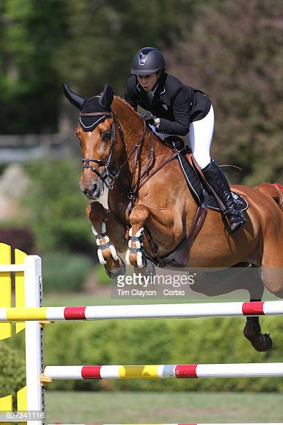 Kirsten Coe riding Baronez in action during the $100000 Empire State Grand Prix presented by the Kincade Group during the Old Salem Farm Spring Horse...