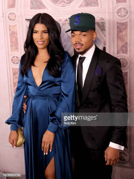 Kirsten Corley and Chance the Rapper attend the Ralph Lauren fashion show during New York Fashion Week at Bethesda Terrace on September 7 2018 in New...