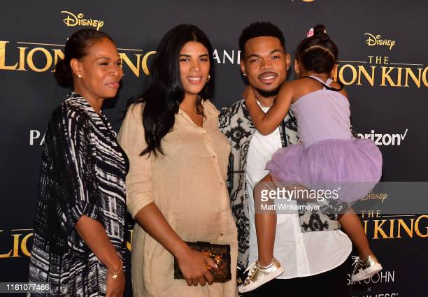 Kirsten Corley Chance The Rapper and Kensli Bennett attend the premiere of Disney's The Lion King at Dolby Theatre on July 09 2019 in Hollywood...