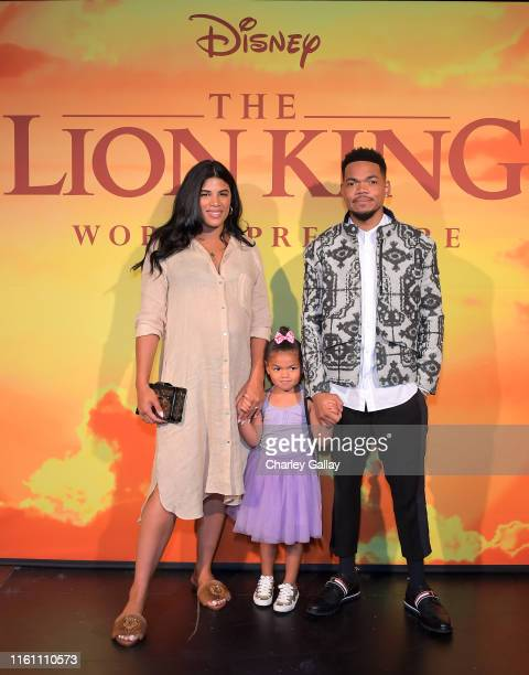 Kirsten Corley Kensli Bennett and Chance The Rapper attend the World Premiere of Disney's THE LION KING at the Dolby Theatre on July 09 2019 in...