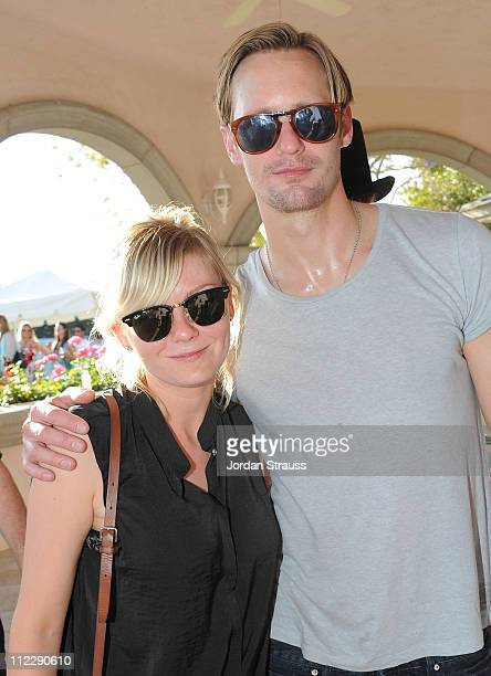 Kirsten Dunst and Alexander Skarsgard attend the second day of LACOSTE LVE With HTC Host A Desert Pool Party In Celebration Of Coachella 2011 on...
